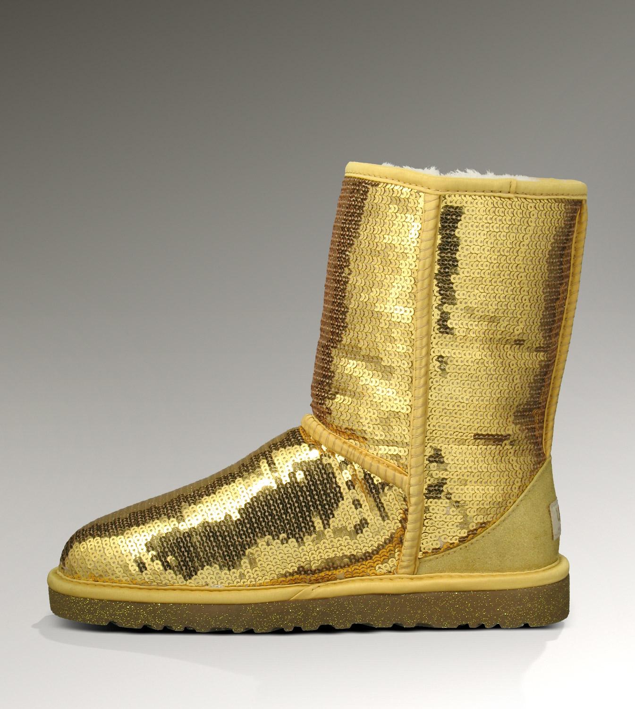 2bd1116a46 UGG Classic Short Glitter Boots 3161 Gold [UGG-070] - CAD140.05 ...