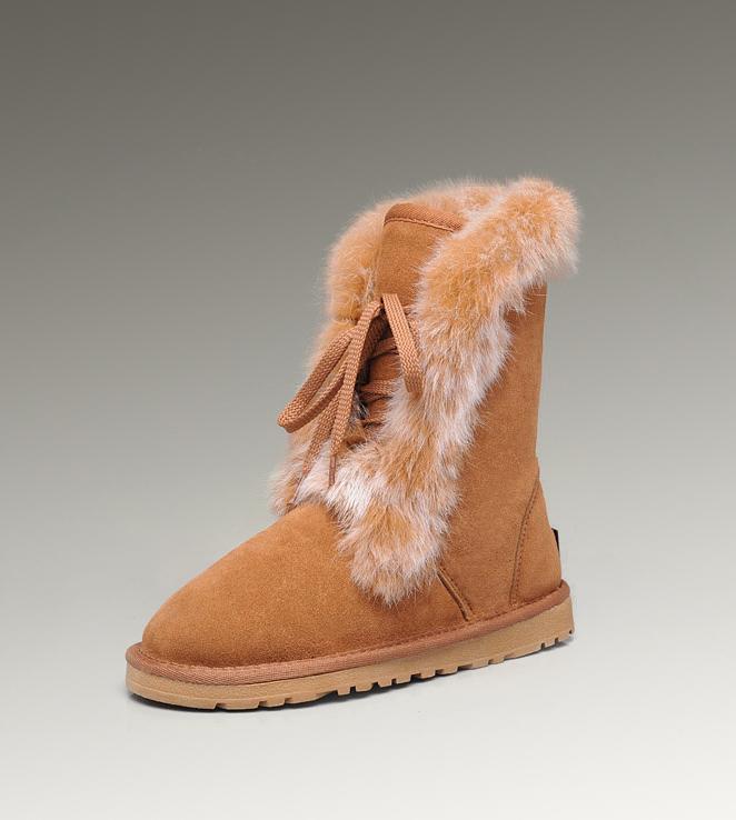 91c2102e5a5 UGG Fox Fur Short Boots 3586 Chestnut Hot Sale [UGG-108] - CAD160.61 ...